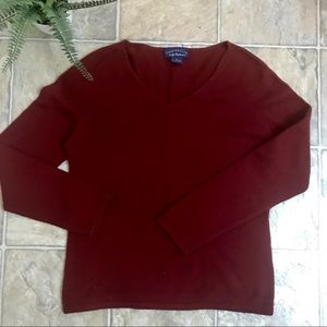 Dark Red Charter Club 100% Cashmere Sweater Size M